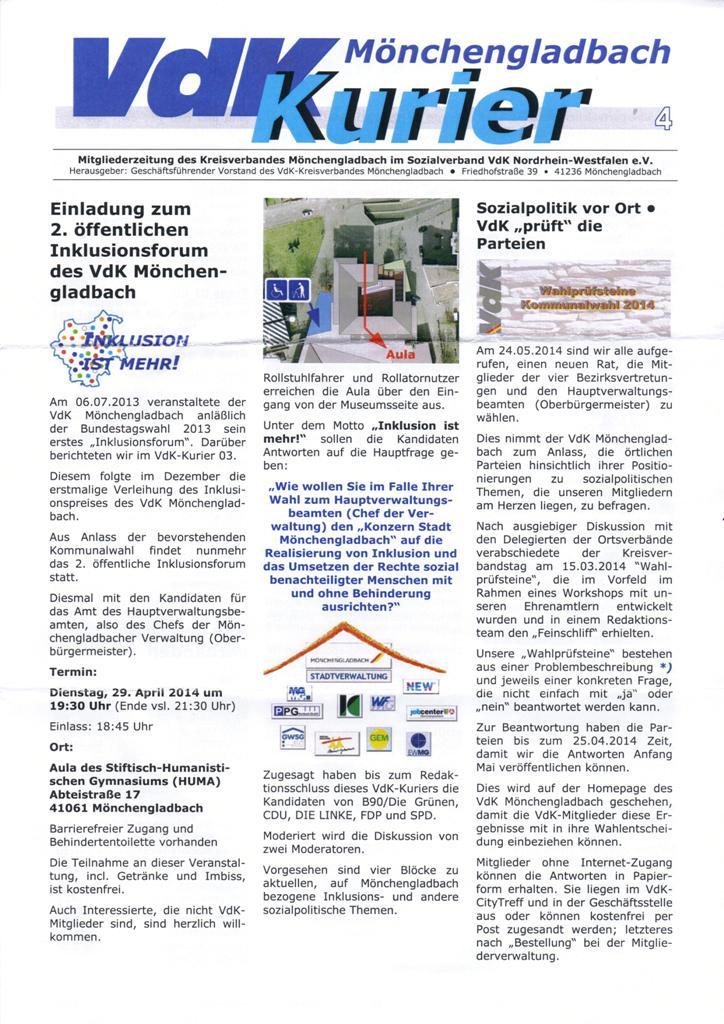 Inklusion ist mehr VdK Kreisverband Mönchengladbach blamiert sich ...