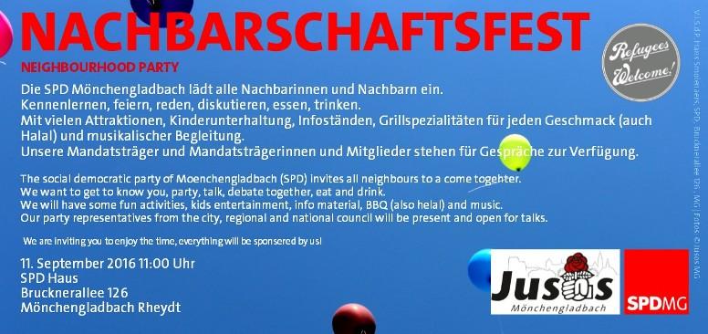 einladung zum nachbarschaftsfest der spd mönchengladbach – mg-heute, Einladung